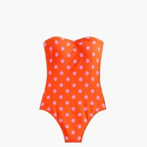 J. Crew Bandeau One-piece Swimsuit, Polka Dot